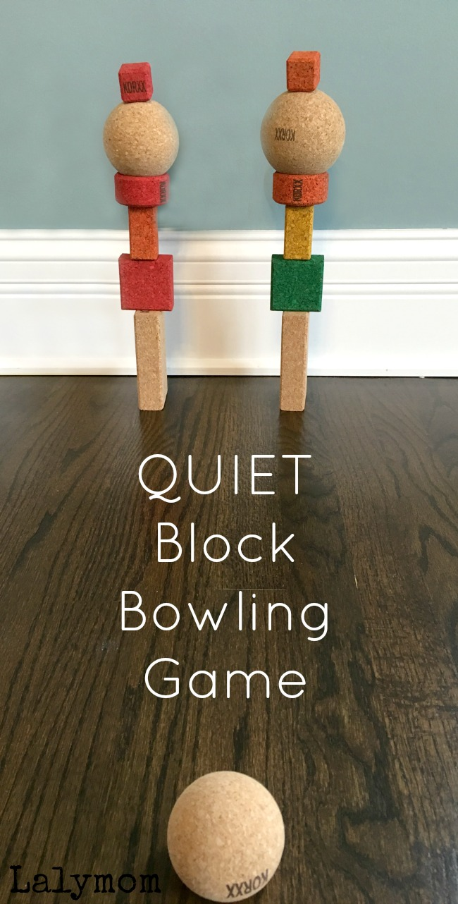 Use Cork Building Blocks to play a fun, but QUIET Bowling game. Kids will love setting it up and knocking it down!