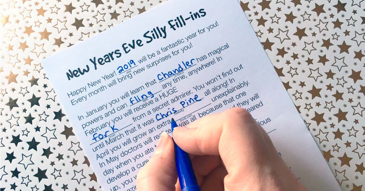 3 Printable New Year Games for Kids - Mad Libs, Dice Games