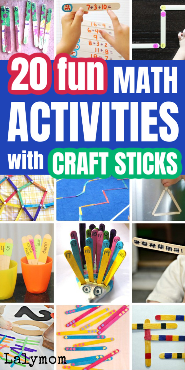20 Fun Math Activities for kids using crafts sticks