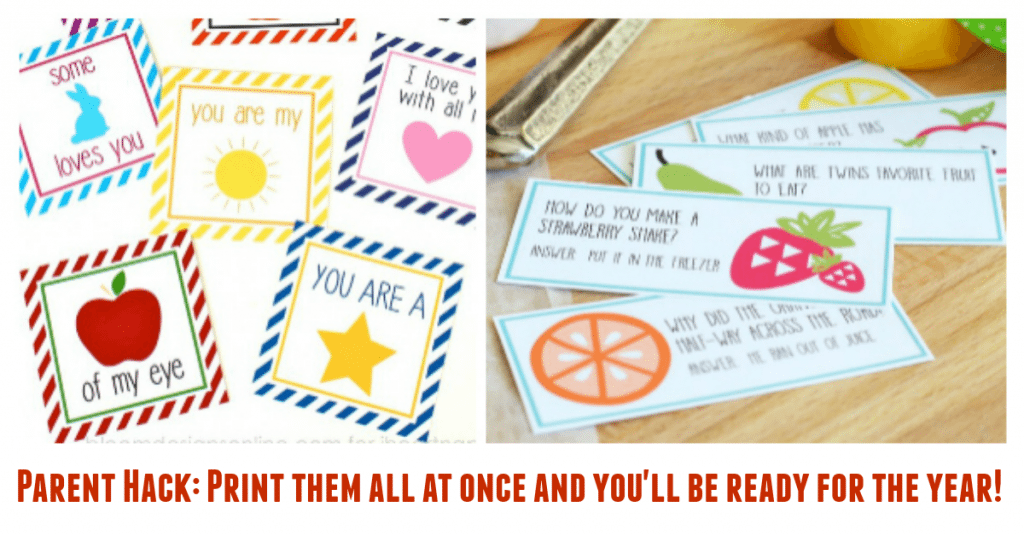 Parent Hack Print a whole school year's worth of lunchbox notes at once and you'll be ready for the whole year!