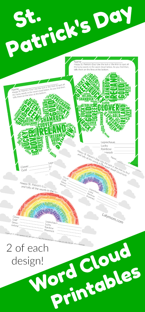 Printable St. Patrick's Day Worksheets - Word Cloud Activities for Kids - Cute Shamrock and Rainbow word search ideas #shamrock #rainbow #activities #printable #kids