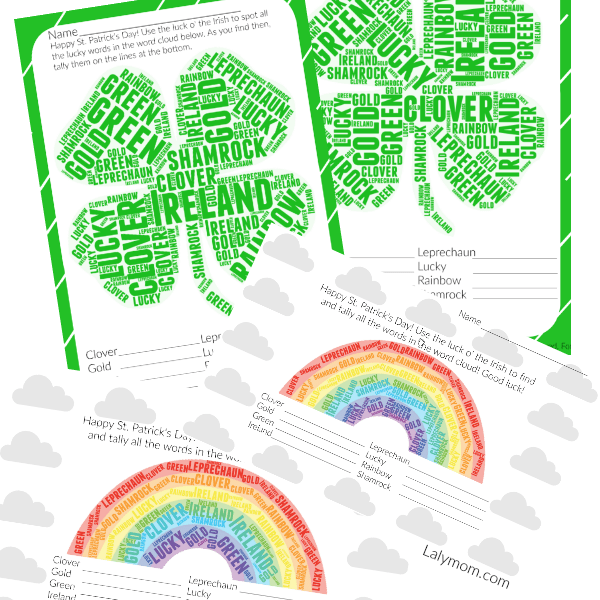 St. Pat's Shamrock and Rainbow Word Cloud Printable Activities for Kids
