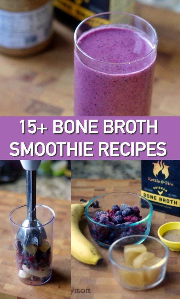 15+ Bone Broth Smoothie Recipes - From fabulous fruit smoothies to superfood smoothie combinations, these recipes take the best smoothies and give them a boost of collagen goodness with bone broth. #smoothies #recipe #bonebroth #keto #whole30 #weightwatchers #healthy #fruit #veggies