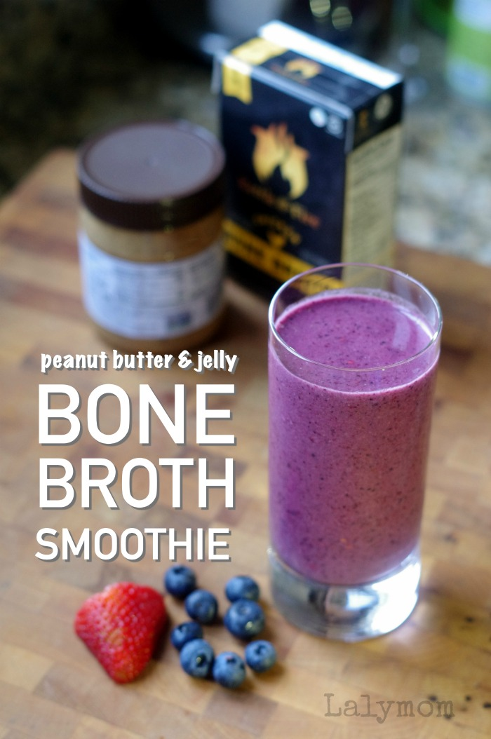 Bone Broth Peanut Butter and Jelly Smoothie Recipe - What a great idea for getting your fruits and veggies plus a bonus of protein. #bonebroth #smoothie #peanutbutter #almondbutter #berries #paleo #whole30 #recipe #weightwatchers #kettle&fire #affiliate