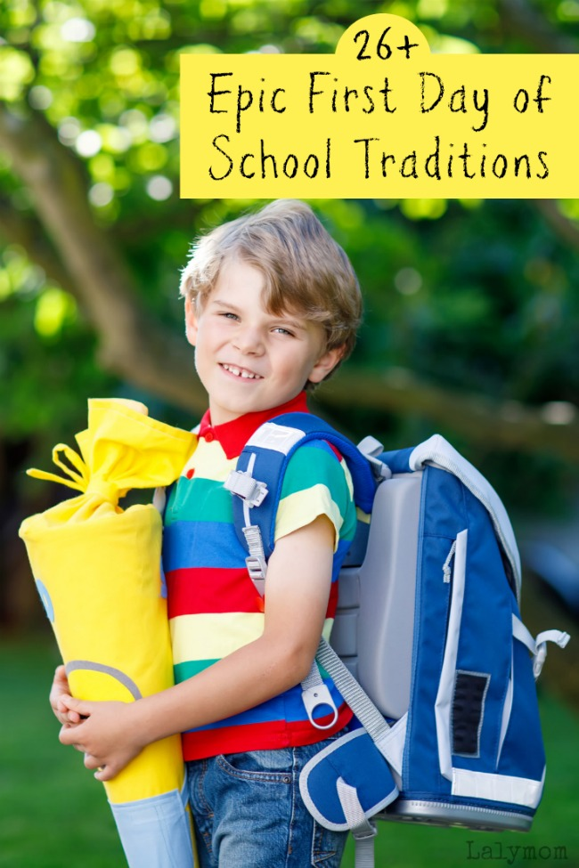 Boy on first day of school carrying a traditional back to school bundle