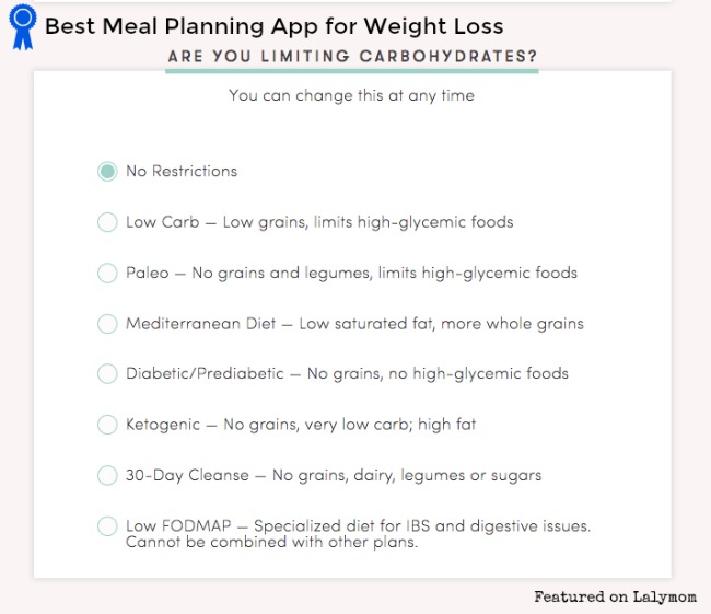 Meal Planning for Weight Loss App as featured on Lalymom.com