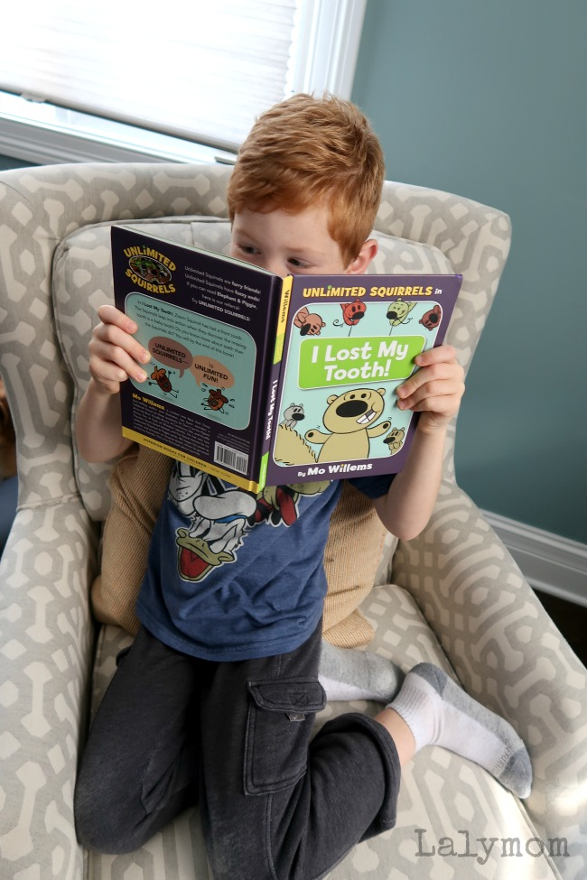 Excitedly reading the new Mo Willems book, I Lost My Tooth! from the #UnlimitedSquirrels series