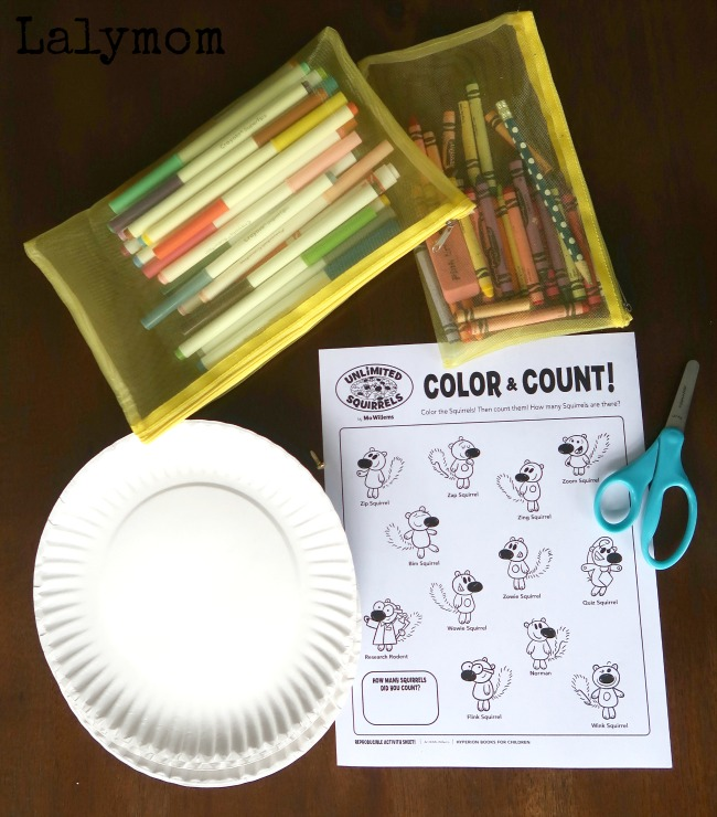 Materials for an Unlimited Squirrels Book Activity - Make your own New Word Wheel to learn sight words along with Mo Willems new book, I Lost My Tooth!