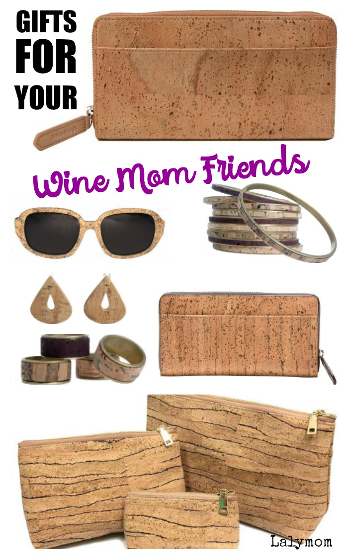 Epic Wine Gifts perfect for your best Wine Mom Friend- or ANY wine lover! Cork Fashion accessories, funny wine t-shirts, giftable bottles and more. #wine #winelover #winegifts #giftsforher