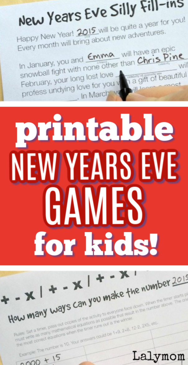 3 Printable NYE Games for kids! Make your New Year's Eve a hit with these fun activities. #NYE #newyear #newyearseveforkids #kids #activities #printable