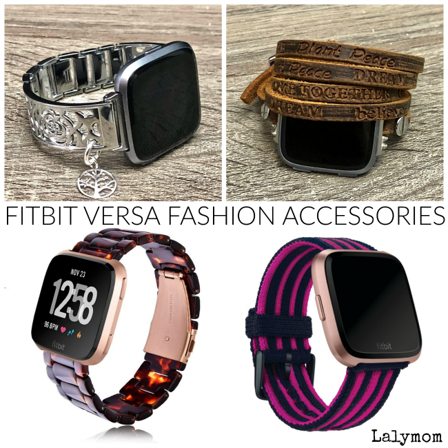 Upscale Fitbit Versa Accessories - I love the stamped leather band but the silver bracelet is pretty too!