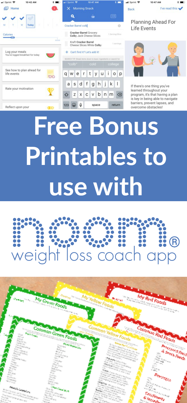 Thinking about joining Noom Weight Loss Coach App Grab these printables to go with it! #weightloss #noom #healthy #diet