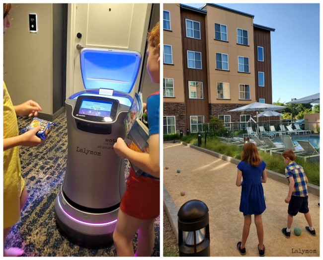 Hotel in Wine Country that is Kid Friendly Hotel Trio. Robot Butler, Bocce ball, pool etc.