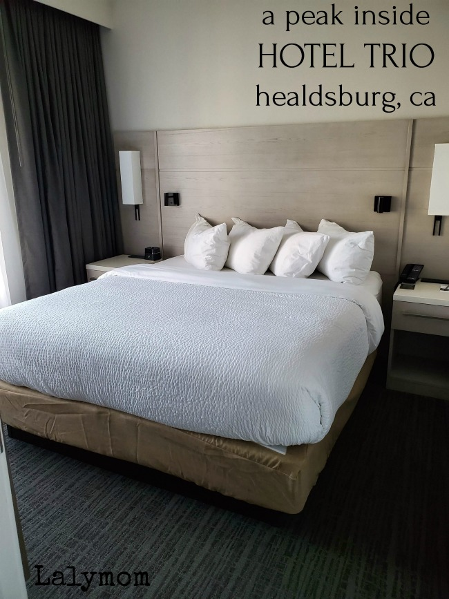 King Bed in the One Bedroom Suite during a stay in Healdsburg Hotel Trio in Wine Country