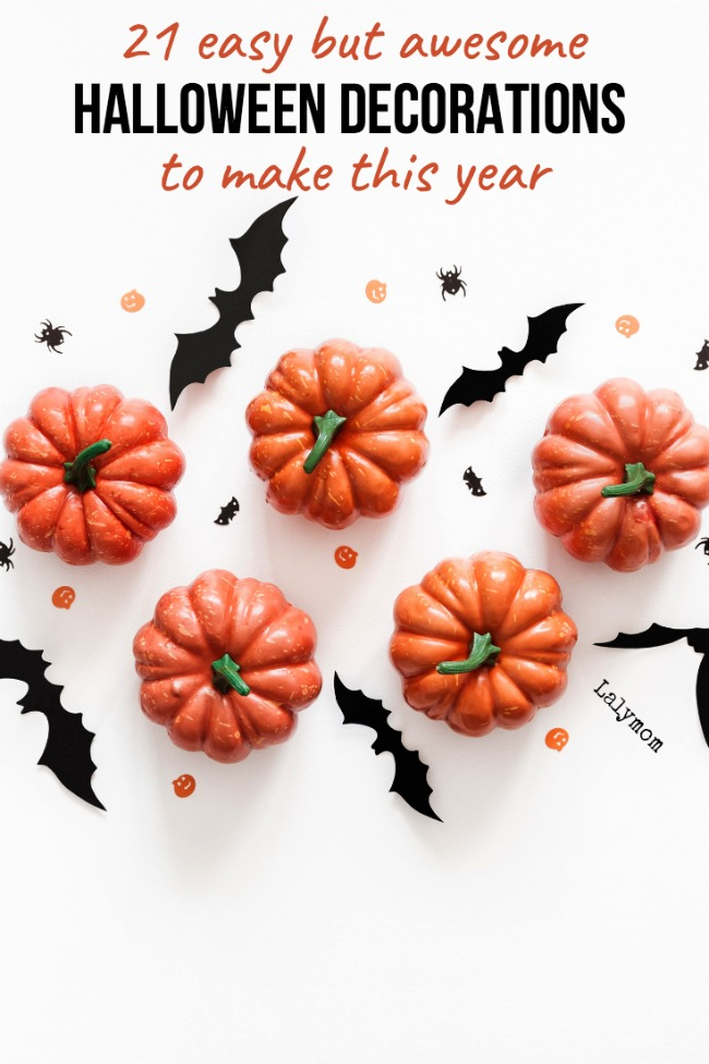 21 Easy But Awesome DIY Halloween Decorations to make this year. Bats, pumpkins, mummies, front door decorations, front yard decorations and living room ideas too.
