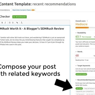 SEO Content Template for Bloggers on SEMRush