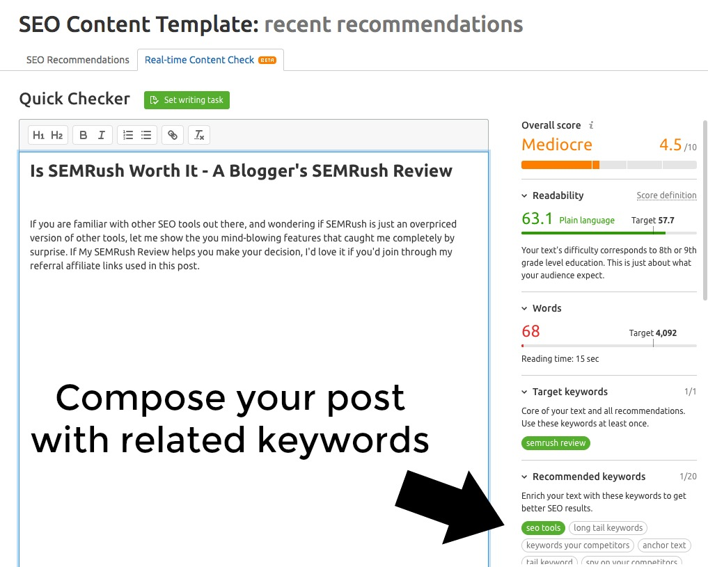 A screenshot of the SEO Content Template for Bloggers on SEMRush