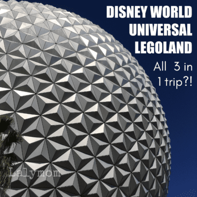 The Epcot Ball, Spaceship Earth is a Symbol for Disney World in Florida. Can you combine all three major Florida parks into one trip? Disney World, Universal and Legoland.
