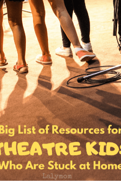 Kids on the stage. Heading home. Big List of Resources for Theatre Kids Stuck at Home (videos, books, social media and more) on Lalymom