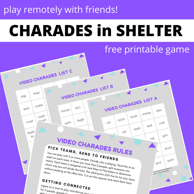 Video Charades, play remotely with your friends! Free printable game for kids or adults.