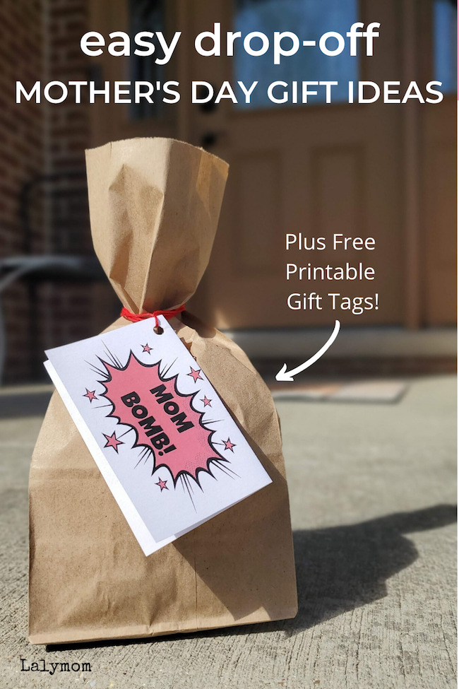 Mom Bomb! Fun and Easy Drop-off Mother's Day Gift Ideas - Plus Free Printable Gift Tags