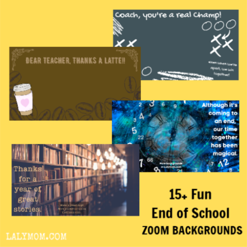 4 images for kids and school staff to use on zoom calls. Coach theme, coffee theme, magical time theme and library theme.