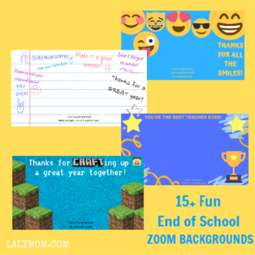 4 Pictures for students and teachers to use as Zoom Video Chat backgrounds. They include an emoji theme, minecraft theme, yearbook signature theme and you are the best teacher theme.