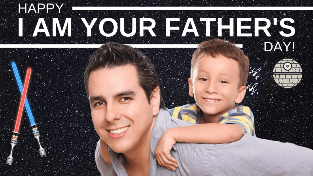 Sample Happy I AM YOUR FATHER'S Day! Star Wars Themed Zoom Background from Lalymom.com