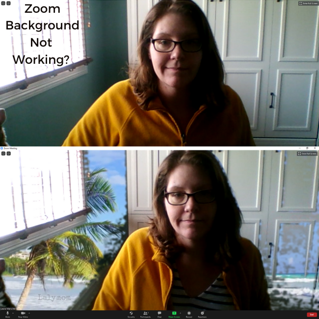 Is Your Zoom Background not working, blurry, choppy or showing up on your face_ Here are some tips to troubleshoot, from Lalymom