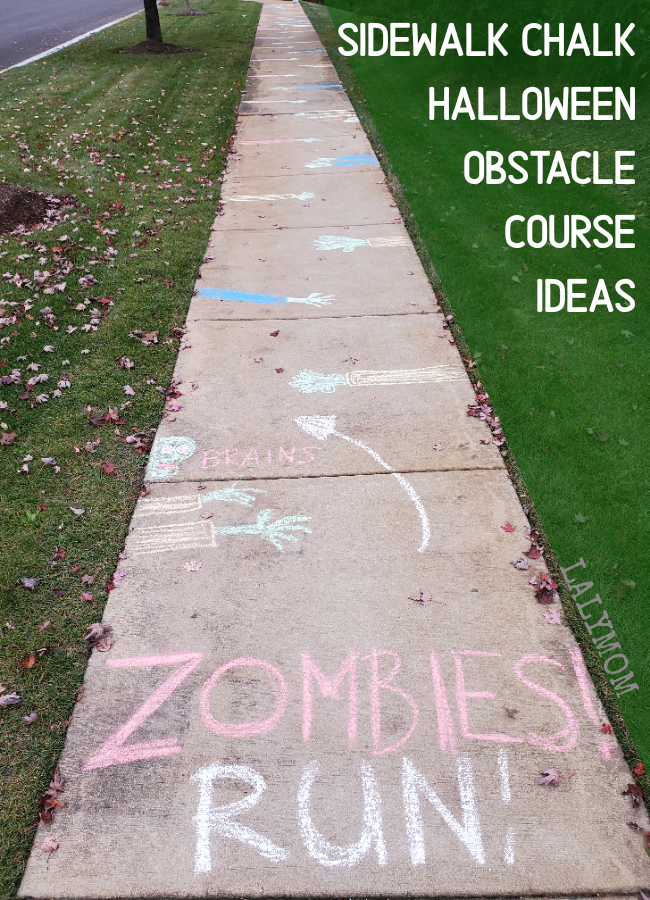 Chalk Your Walk with fun Halloween Obstacle Course Ideas like this Zombies Run idea