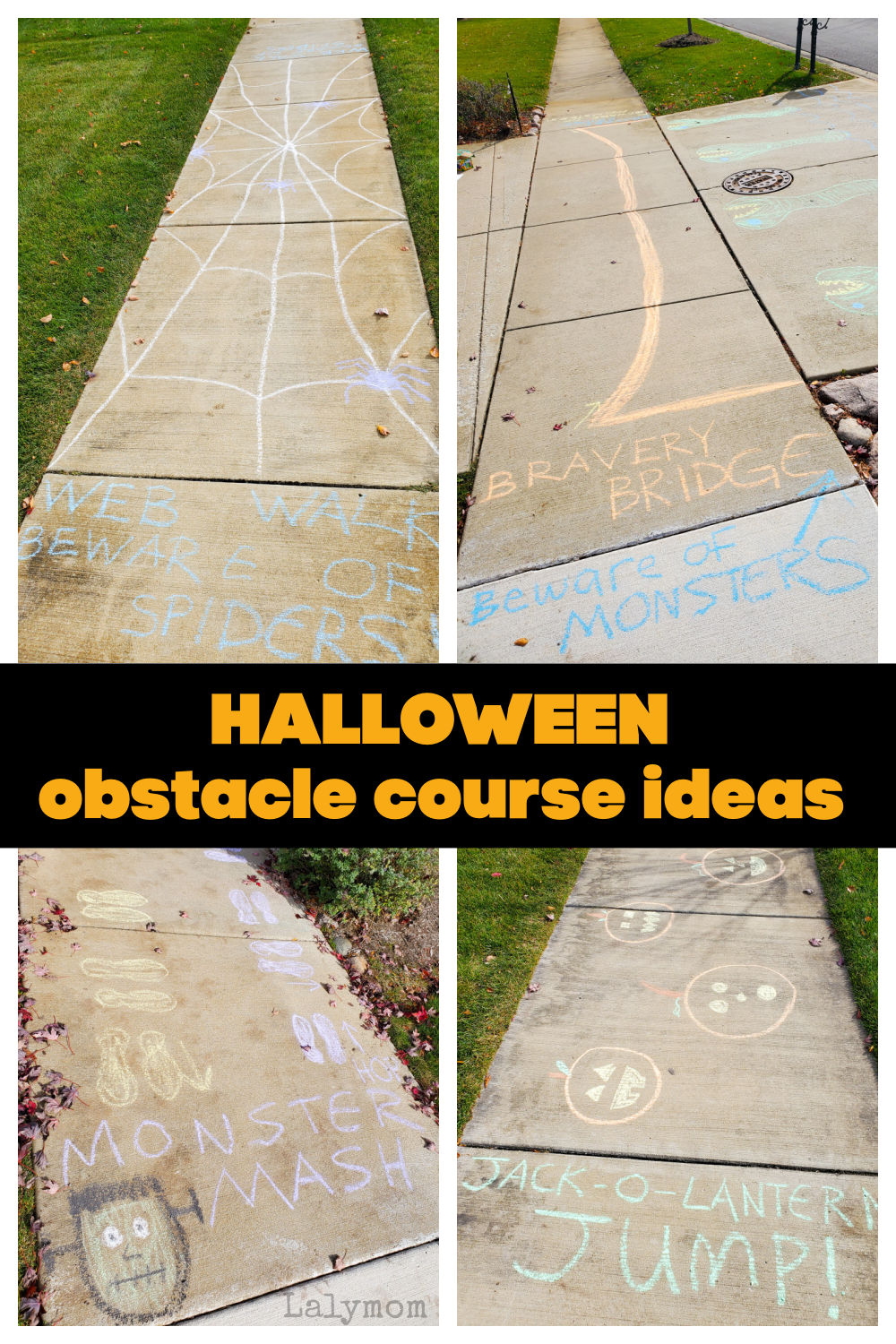 Lots of Ideas for a Halloween Sidewalk CHalk Obstacle Course - Spiders, Monsters, Pumpkins and more