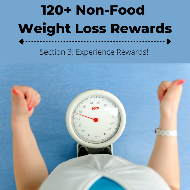 Standing on a scale, giving thumbs up! 120+ Non Food Weight Loss Rewards - Experience Rewards Ideas