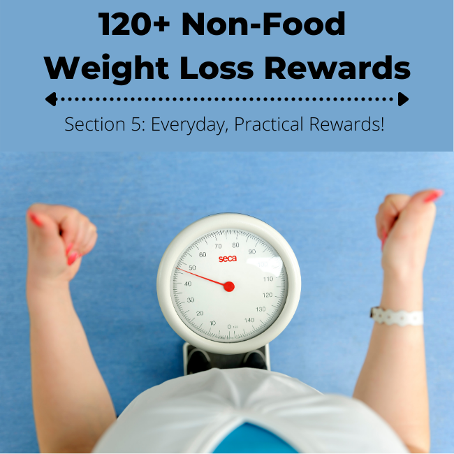 Standing on a scale, giving thumbs up! 120+ Non Food Weight Loss Rewards - Practical Rewards Ideas
